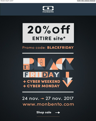 Black Friday sale: 20% off Entire site