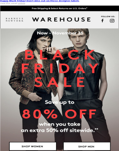 Save Up to 80% Off at Our Black Friday Sale