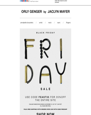 Black Friday-35% off for friends and family