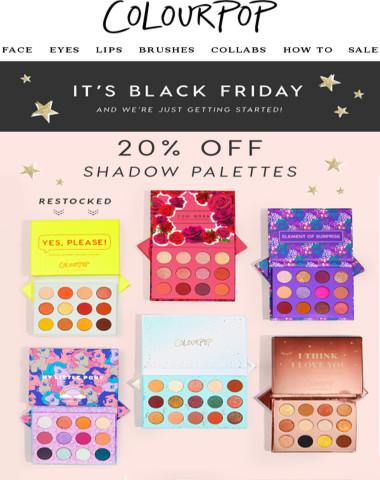 20% off Palettes + $4 Liquid Lips!
