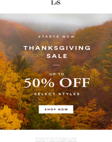 Thanksgiving Sale Starts Now: Up to 50% off Select Styles