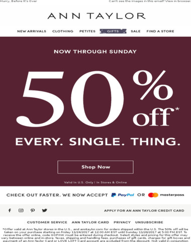It's Time: 50% Off EVERYTHING