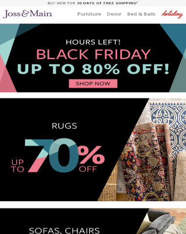 HOURS LEFT: Rugs up to 70% off for BLACK FRIDAY!