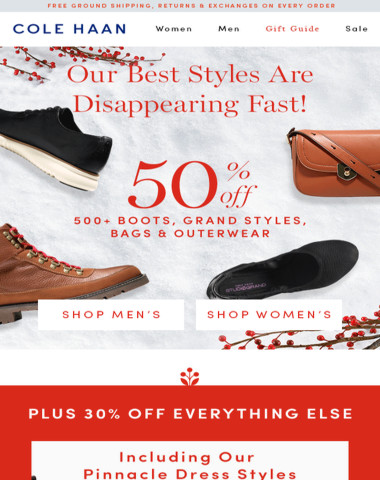 Take 50% Off 500+ Styles. 30% Off Everything Else