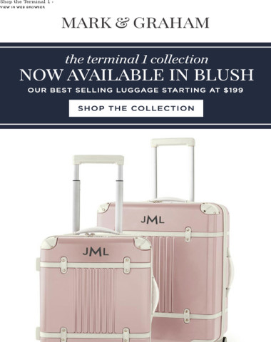Just In! Our Best Selling Terminal 1 Luggage is Now Available in BLUSH!