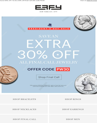 Presidents' Week Sale starts now with Extra 30% off