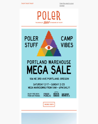 Poler Warehouse Sale!   Portland, OR   Starts this weekend!