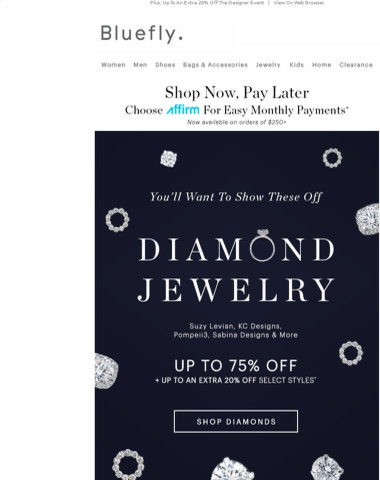DIAMOND. JEWELRY. Up To 75% Off Rings, Bracelets, Earrings + More