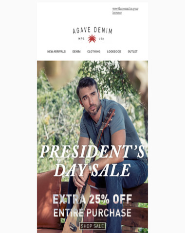Presidents Day Outlet Sale is on! Take 25% off