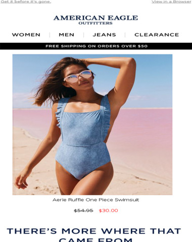a55c5857b8e American Eagle - Now on sale! Aerie Ruffle One Piece Swimsuit