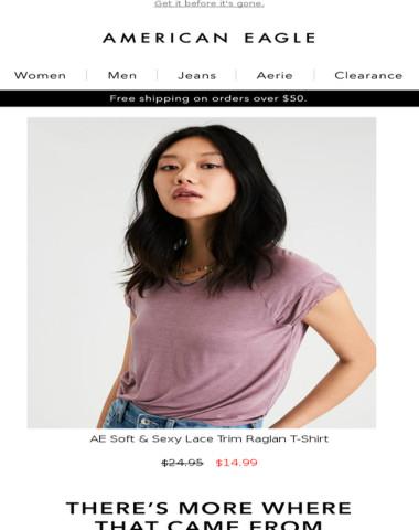6504c6b5 Now on sale! AE Soft & Sexy Lace Trim Raglan T-Shirt Mar 22 2018, 9:35:59 am