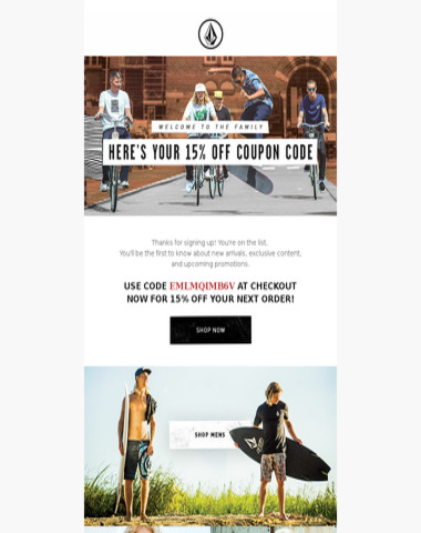 Welcome to the family, your Volcom.com coupon code is inside