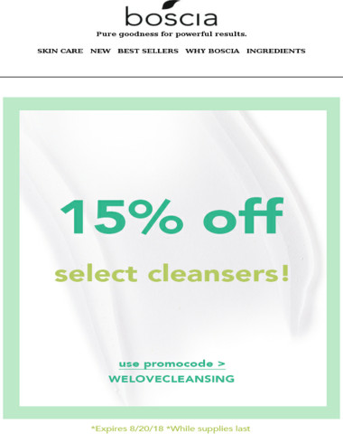 15% off select cleansers?