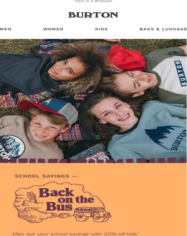 Back to School Style: 20% Off Burton Durable Goods