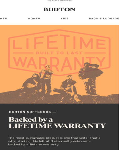 LIFETIME WARRANTY on All Burton Softgoods