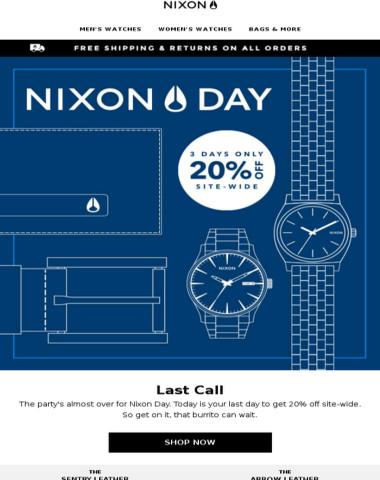 Nixon Day Sale - Last Chance