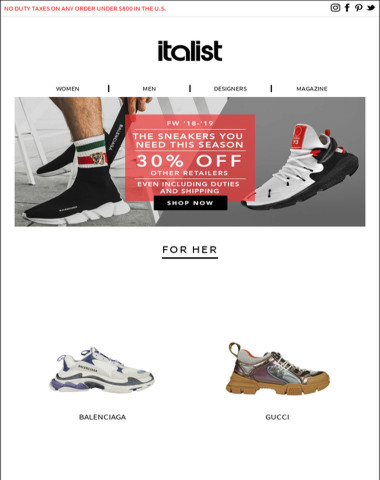 4048a927decc Italist - Just Landed: Balenciaga Triple S, Gucci Flashtrek and more  FW18-19 must-have sneakers right now for men and women!