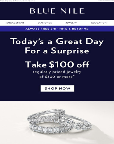 $100 Off Exceptional Jewelry Gifts
