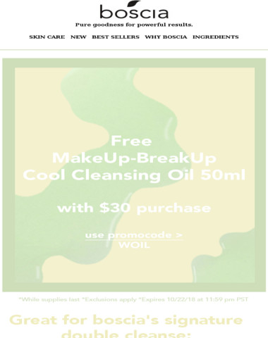 Free MakeUp-BreakUp Cool Cleansing Oil 50ml with $30 purchase?