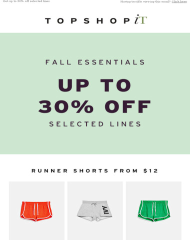 Fall essentials, up to 30% off