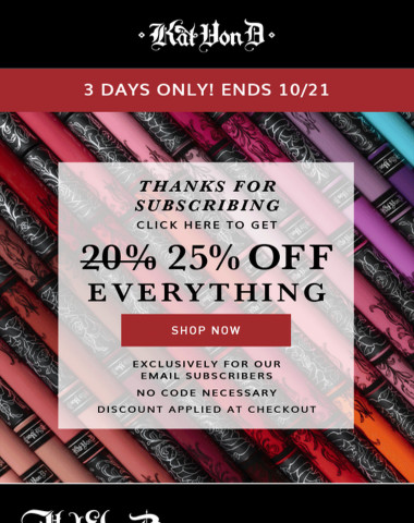 25% off everything, 3 days only