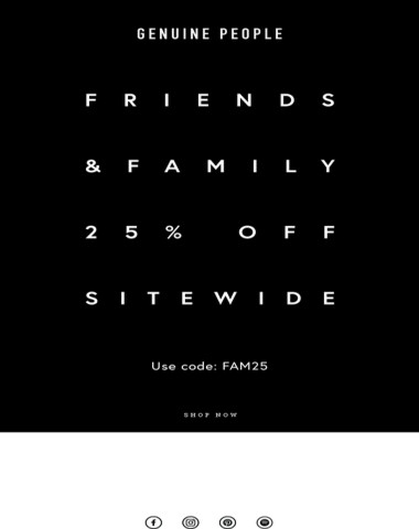 Friends & Family Sale Starts Now
