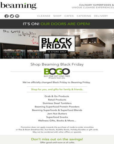 It's on! Our Doors Are Open For Black Friday