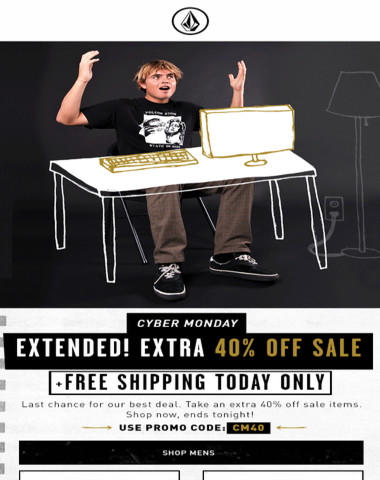 Extra 40% off sale + free shipping extended. Today only!