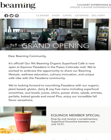 Our 9th Beaming Cafe is now open inside Equinox at Paseo Colorado, Pasadena
