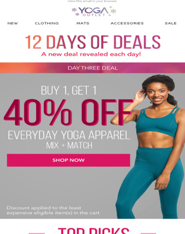 Buy One Get One 40% OFF Everyday Yoga Apparel!