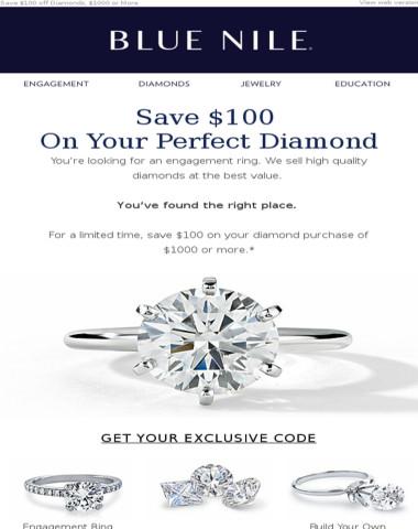 Save $100 on Diamonds at Blue Nile