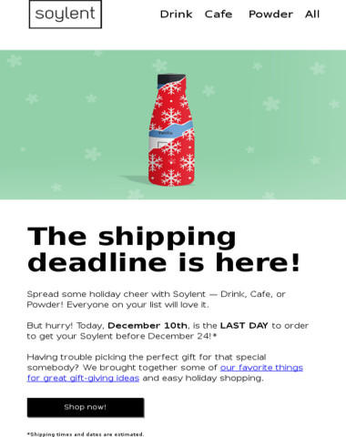 Last day to get Soylent in time for the holidays!