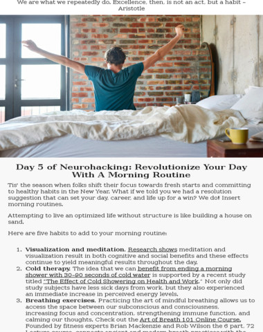 Day 5 of neurohacking: morning routine upgrades