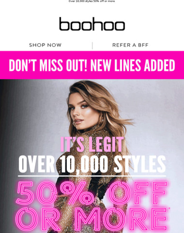 50% Off Or More! New Lines Added