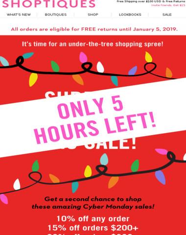 5 Hours Left! Up to 20% E-V-E-R-Y-T-H-I-N-G