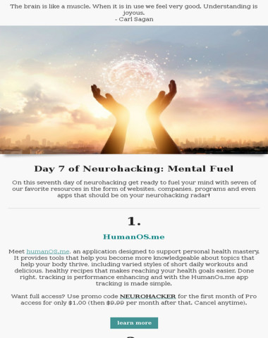 Day 7 of neurohacking: mental fuel