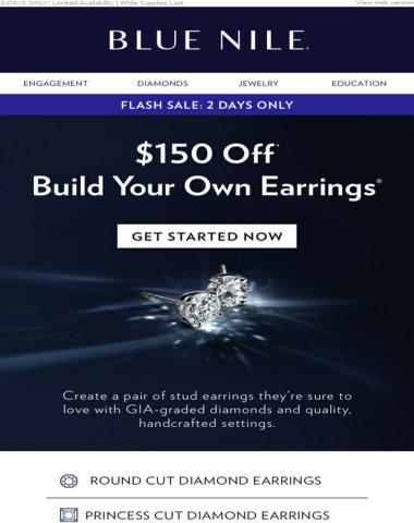⚡ FLASH SALE: $150 Off Diamond Stud Earrings