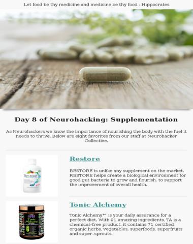 Day 8 of neurohacking: supplementation