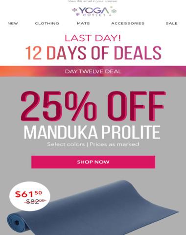 25% Off Manduka Prolite Yoga Mat + Spend $100, Get $10