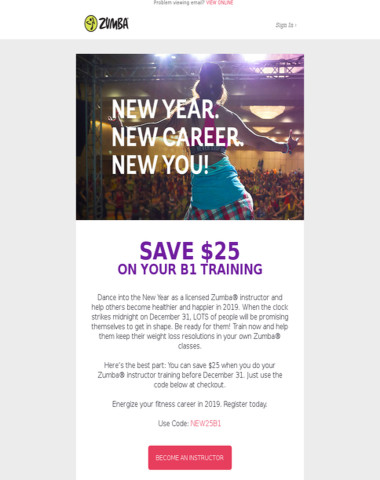 Make 2019 Count! $25 Off Your Zumba Instructor Training.