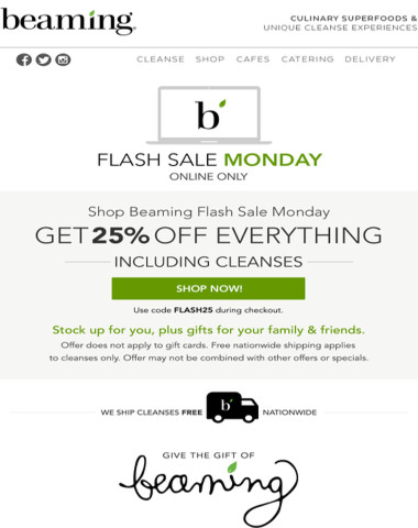 LiveBeaming.com Flash Sale Monday - 25% off everything (including cleanses)!
