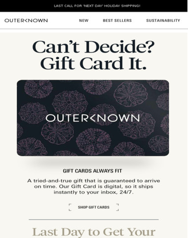 Last Chance to Ship + Gift Cards
