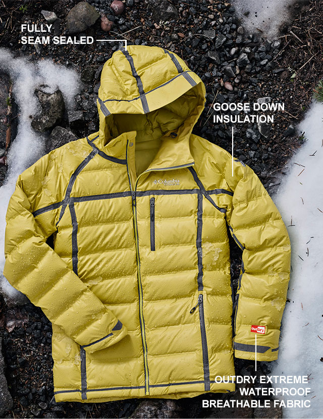 FULLY SEAM SEALED | GOOSE DOWN INSULATION | OUTDRY EXTREME WATERPROOF BREATHABLE FABRIC