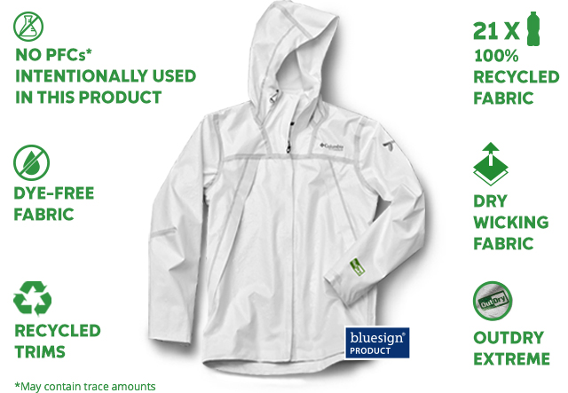 NO PFCS* INTENTIONALLY USED IN THIS PRODUCT | 100% RECYCLED FABRIC | DYE-FREE FABRIC | DRY WICKING FABRIC | RECYCLED TRIMS | OUTDRY EXTREME | *May contain trace amounts