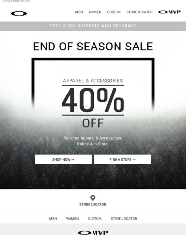 40% Off End of Season Sale Starts Now