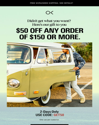OUR GIFT TO YOU: $50 OFF
