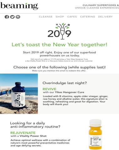 Happy New Year - Enjoy a healthy toast on us!