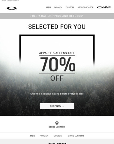Just for You: 70% Off Apparel & Accessories