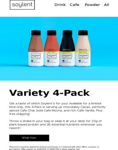 Variety 4-Packs available for a limited time + free shipping!