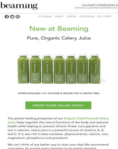Selling off the shelves! Beaming's Pure Organic Celery Juice